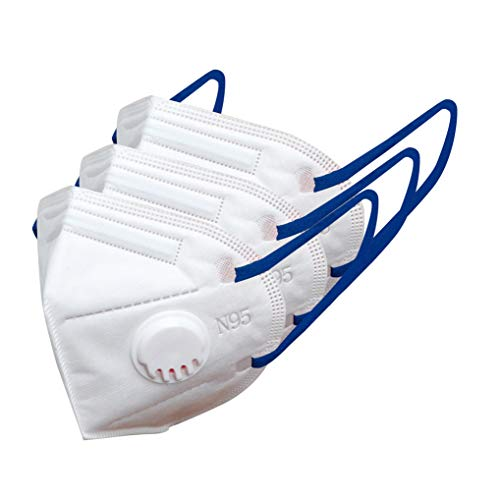 AmaZeus N95 Face Mask 5 Layers Melt Blown Fabric Made In India – 2510V (White, Blue band) with Nose Valve (Pack of 3) – AT Health Care