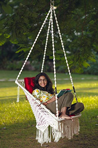 Patiofy Made in India Premium Square Shape Hammock-Hanging Cotton Chair Swing with Cushion and Accessories for Indoor and Outdoor/120 Kg Capacity/Swing Cushion/Chair Cushion for Kids and Adults(White) Furniture