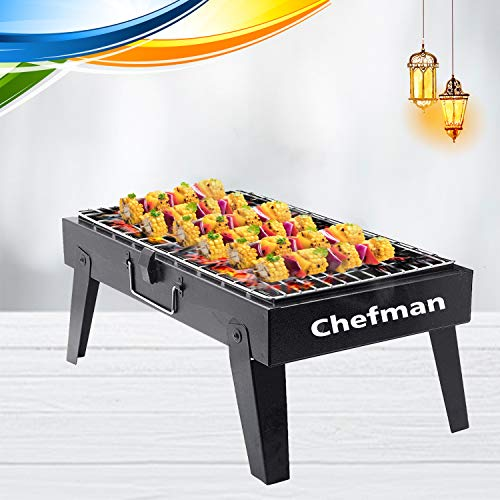 Chefman Charcoal Barbeque Grill with Accessories 4 Skewers,1 Tong (Made in India) (Large) Standing BBQ Kitchen Care
