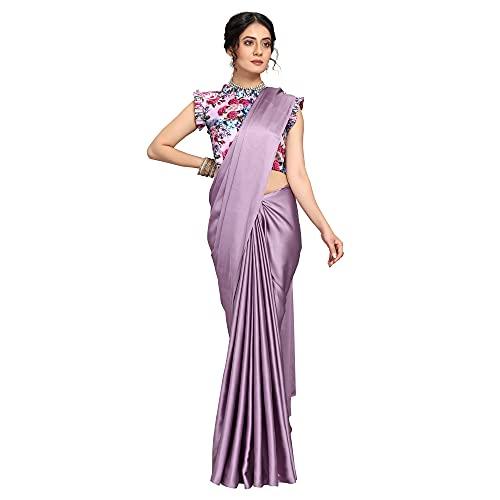 Dhyan Women's Banarasi Satin Silk Saree With Blouse Piece Clothing
