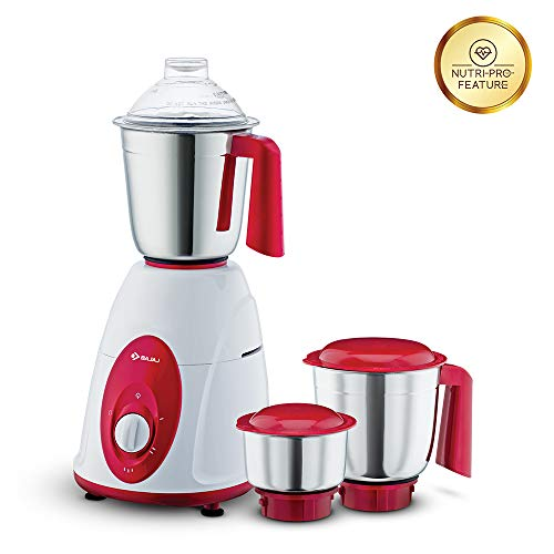 Bajaj Classic Mixer Grinder, 750W, 3 Jars (White and Maroon) Home Appliances