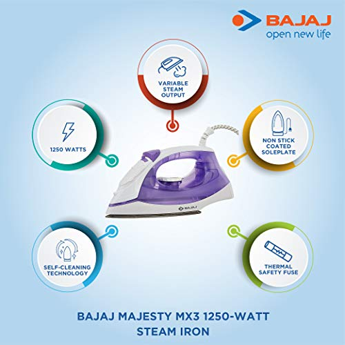 Bajaj MX-3 1250W Steam Iron with Steam Burst, Vertical and Horizontal Ironing, Non-Stick Coated Soleplate, White and Purple Home Appliances