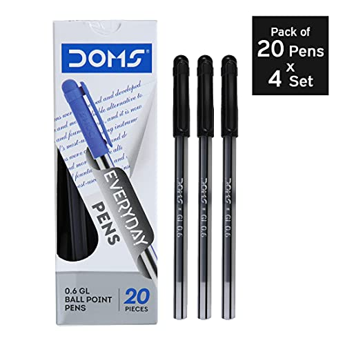 DOMS DF 0.6 GL Ball Point Pens (Black,Pack of 20 x 4 Set) Study & Work