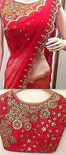Everwey Women's Georgette Net Embroidery Saree with Blouse Piece(tev-rangoli red edt) new Clothing