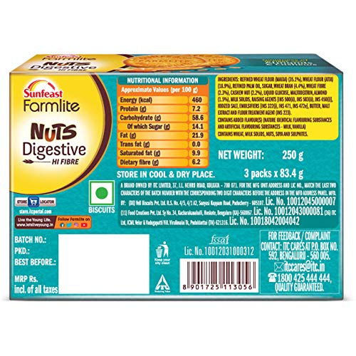 Sunfeast Farmlite Nuts Digestive Biscuit High Fibre Goodness of Almonds, Cashews and Wheat Fibre, 250g Dry Snacks