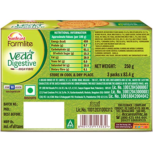 Sunfeast Farmlite Veda Digestive Biscuit High Fibre Goodness of 5 Natural Ingredients and Wheat Fibre, 250g Dry Snacks