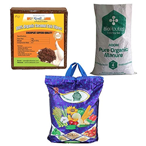 Kraft Seeds Vermicompost 4kg & Cocopeat 4kg & 4kg Organic Manure in One Box Trio Organic Manure Pack -Expands Upto 150Ltrs of Manure When Mixed Together