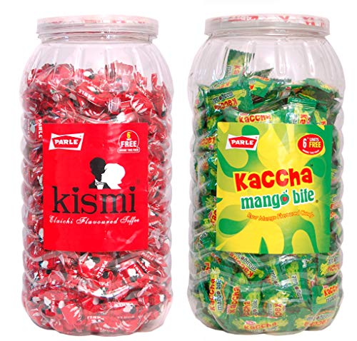Parle Kismi Elaichi Flavoured Toffee & Parle Kaccha Mango Bite Raw Mango Flavoured 600+ Toffee in Combo Pack.