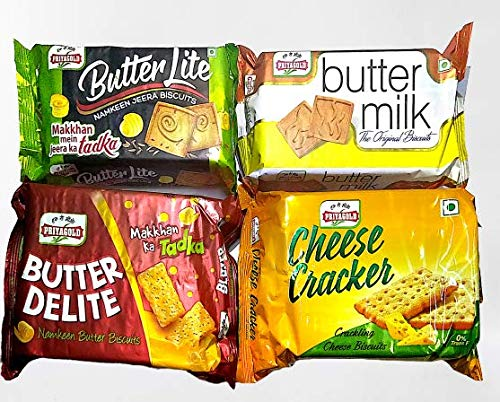 Priyagold Butter Lite, Butter Delight, Butter Milk and Cheese Cracker Biscuits Combo 600Gm