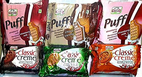Priyagold Classic Chocolate, Orange, Elachi, Strawberry and Choco Vanila Cream Biscuits Combo (600 g)-Pack of 6