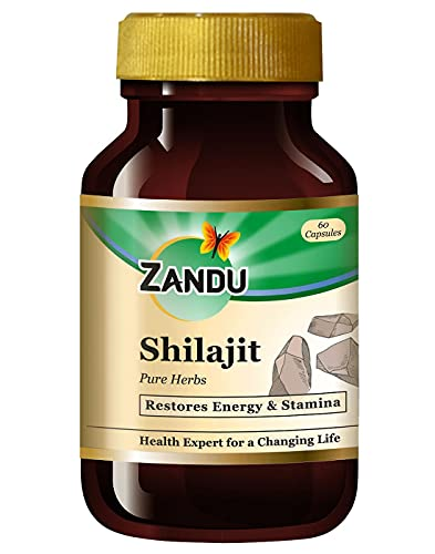 Zandu Shilajit Capsules, Infused with Goodness of Natural Shilajit Extracts, Helps Boost Immunity & Energy, Supports Metabolism - 60 Vegetarian Capsules