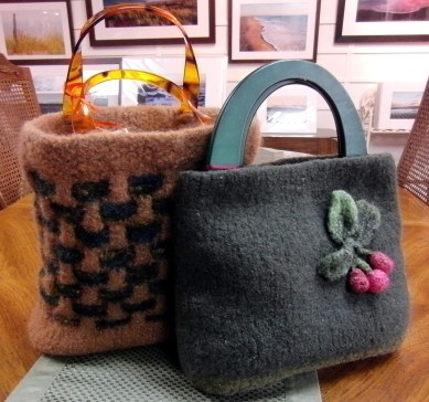 Handmade and hand-felted hand bags by Louise and Donna (a.k.a. Ewe 2 Twisted Sisters)