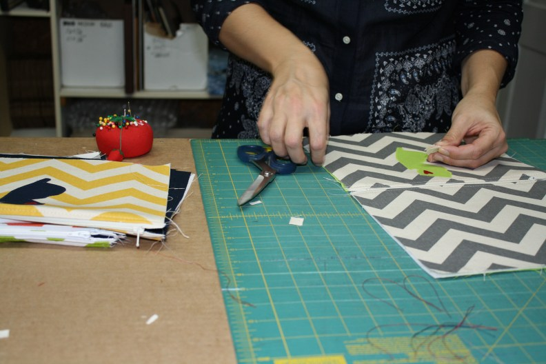Allison making New Jersey Bags