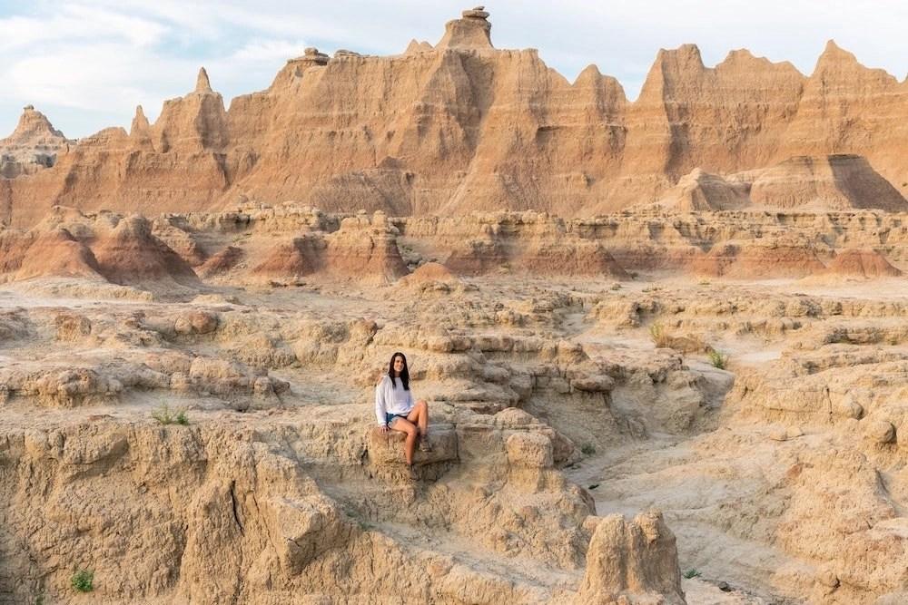 Woman Exploring Badlands National Park