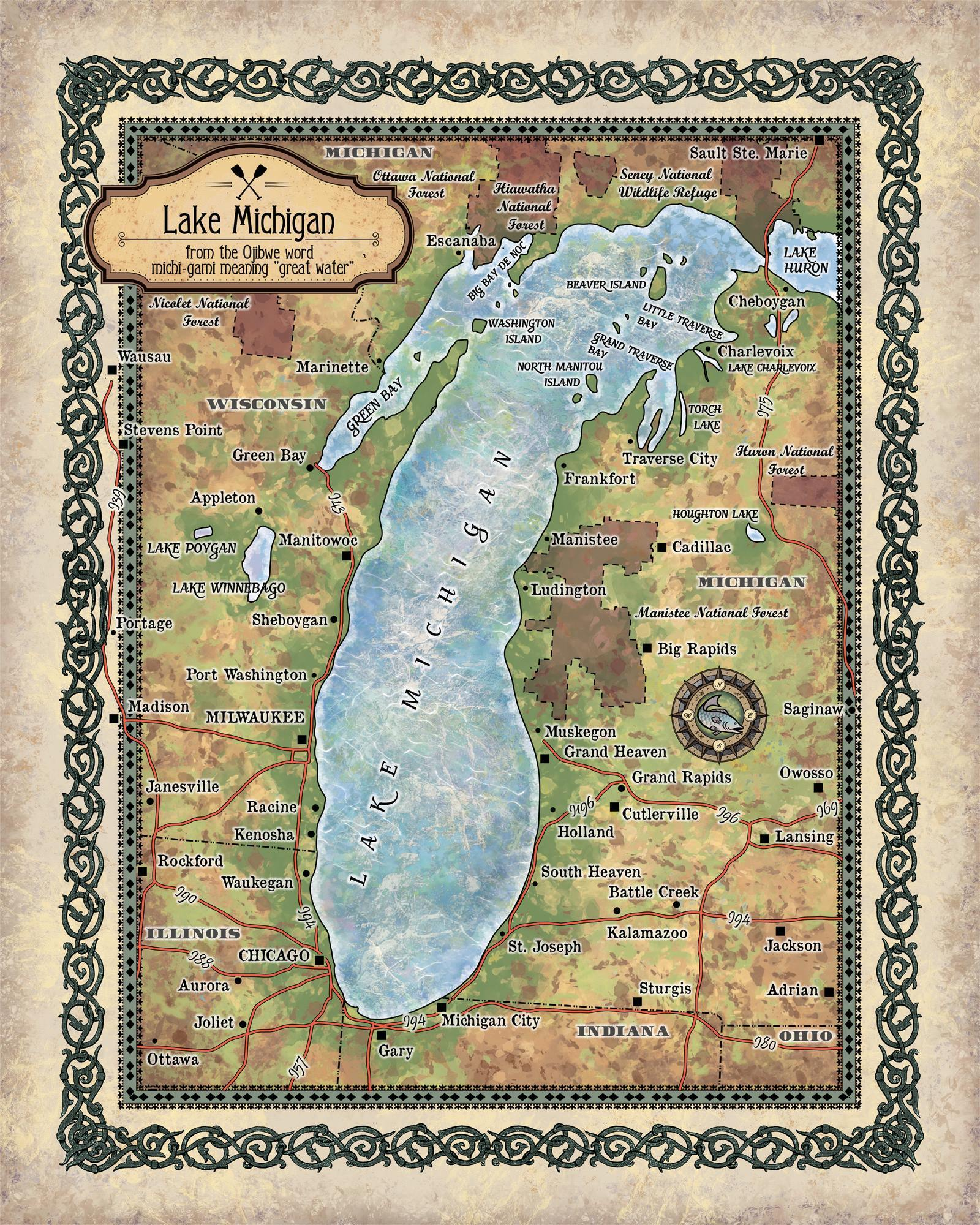Travel Tuesday Map Feature Lake Michigan