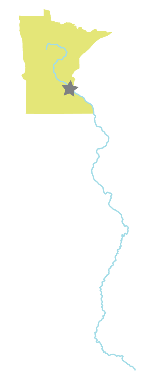 Outline of Minnesota with line representing the Mississippi River going down out of the state