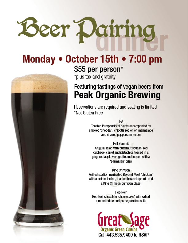 Peak Organics, Great Sage, Beer Pairing, IPA, Fall Summit, King Crimson, Hop Noir, Peak Organic Beer, Peak Organic Brewing Company, Organic Beer, Vegan Beer,