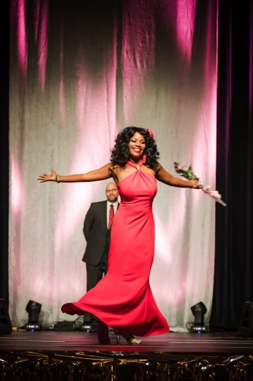 Joy Tabbs modeling from Great Stuff at DBCC's Lights of Life Gala