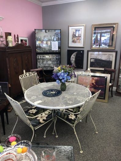 Wrought iron table with 4 chairs $295