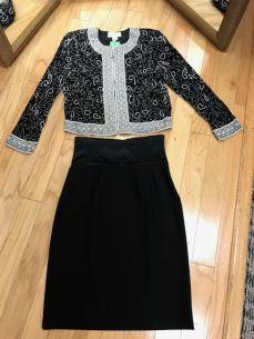 $59 Small Beaded Jacket $49 Size 4 Skirt