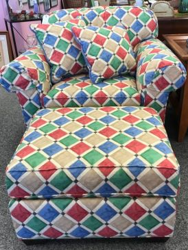 $350 comfortable, bright chair and ottoman