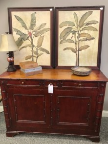 $1500 Antique cabinet in a distressed red finish. $89 Icelandic bowl. art $39 each. $19 Lamp