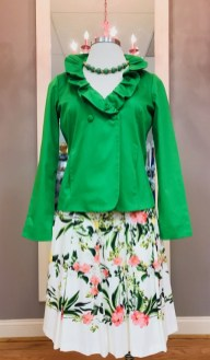 $25 Sz M green ruffle jacket; $19 Sz 8 Talbots floral skirt