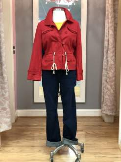 $59 size 12 red rope waisted jacket; $25 size 1.5 Chico's platinum jeans
