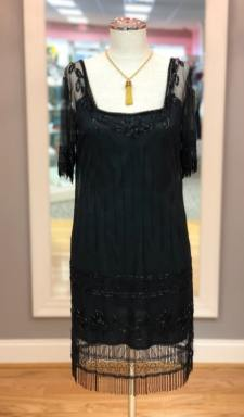 $59 size Small Flapper black beaded dress