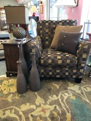$75 chair, $149 vases (3), $39 lamp, $95 chest, $595 rug 7'10 x 9'10