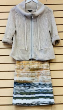 $59 size 6 Elie Tahari skirt paired with $59 small Theory sweater