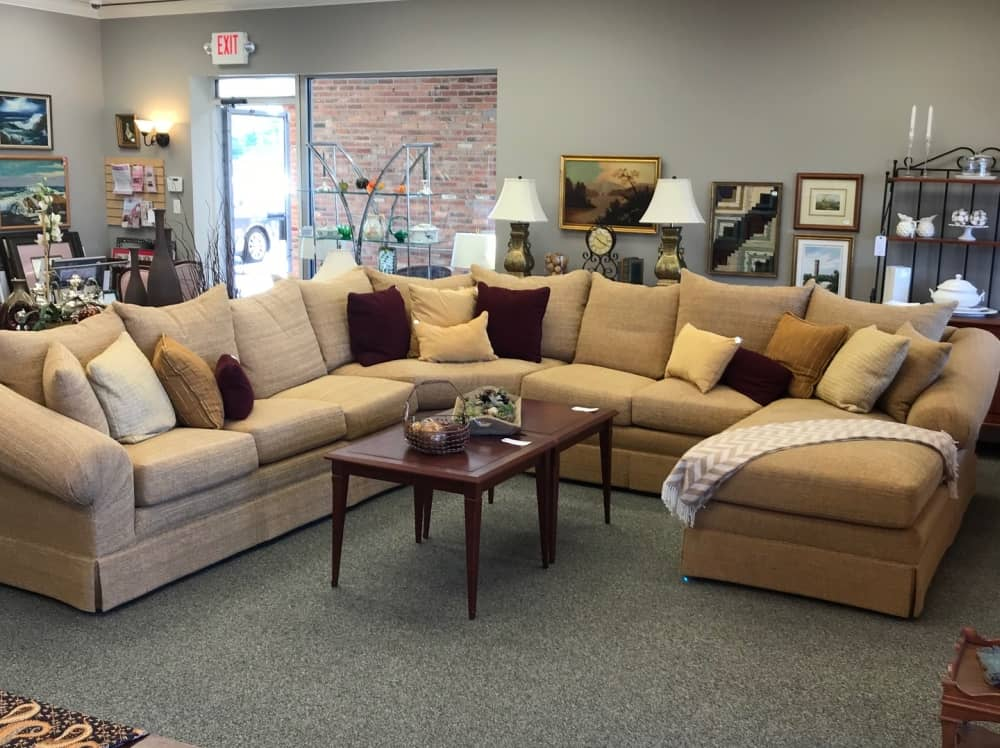"$3200 custom made sectional. Perfect for your favorite hangout space! Great fabric and comfy down filled cushions! Approximate footprint 12'-6"" x 12'-6"""