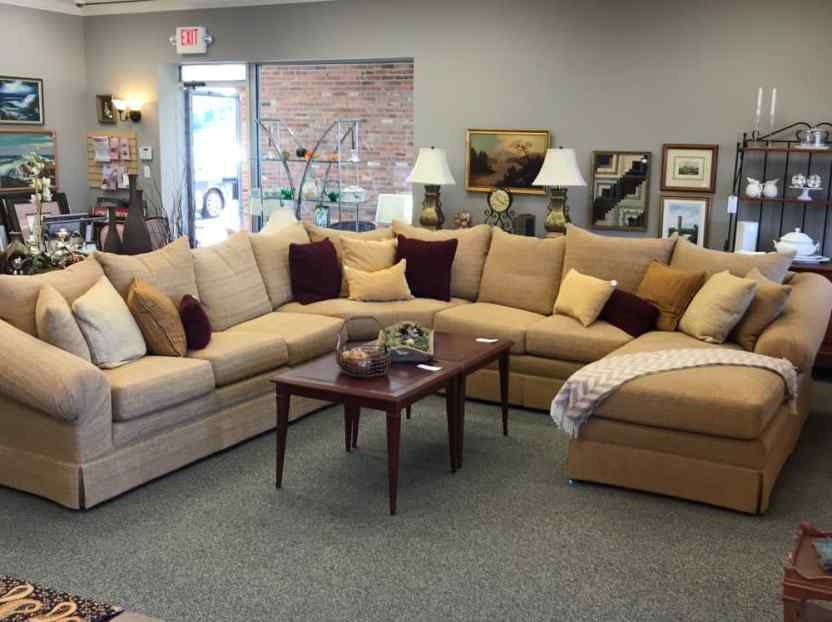"""$3200 custom made sectional. Perfect for your favorite hangout space! Great fabric and comfy down filled cushions! Approximate footprint 12'-6"""" x 12'-6"""""""