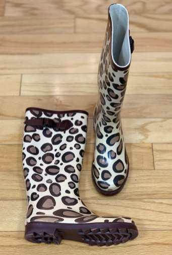 Animal print rain boots Size 6 $20