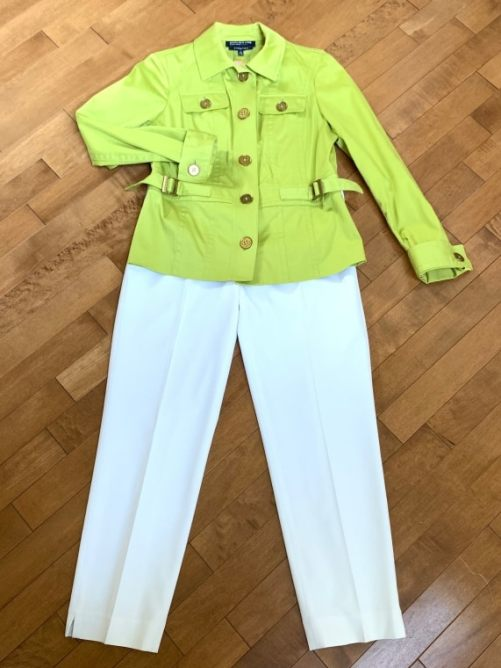 Green Jones of NY blazer Size PP $25 White Vince Camuto pants Small $16.00