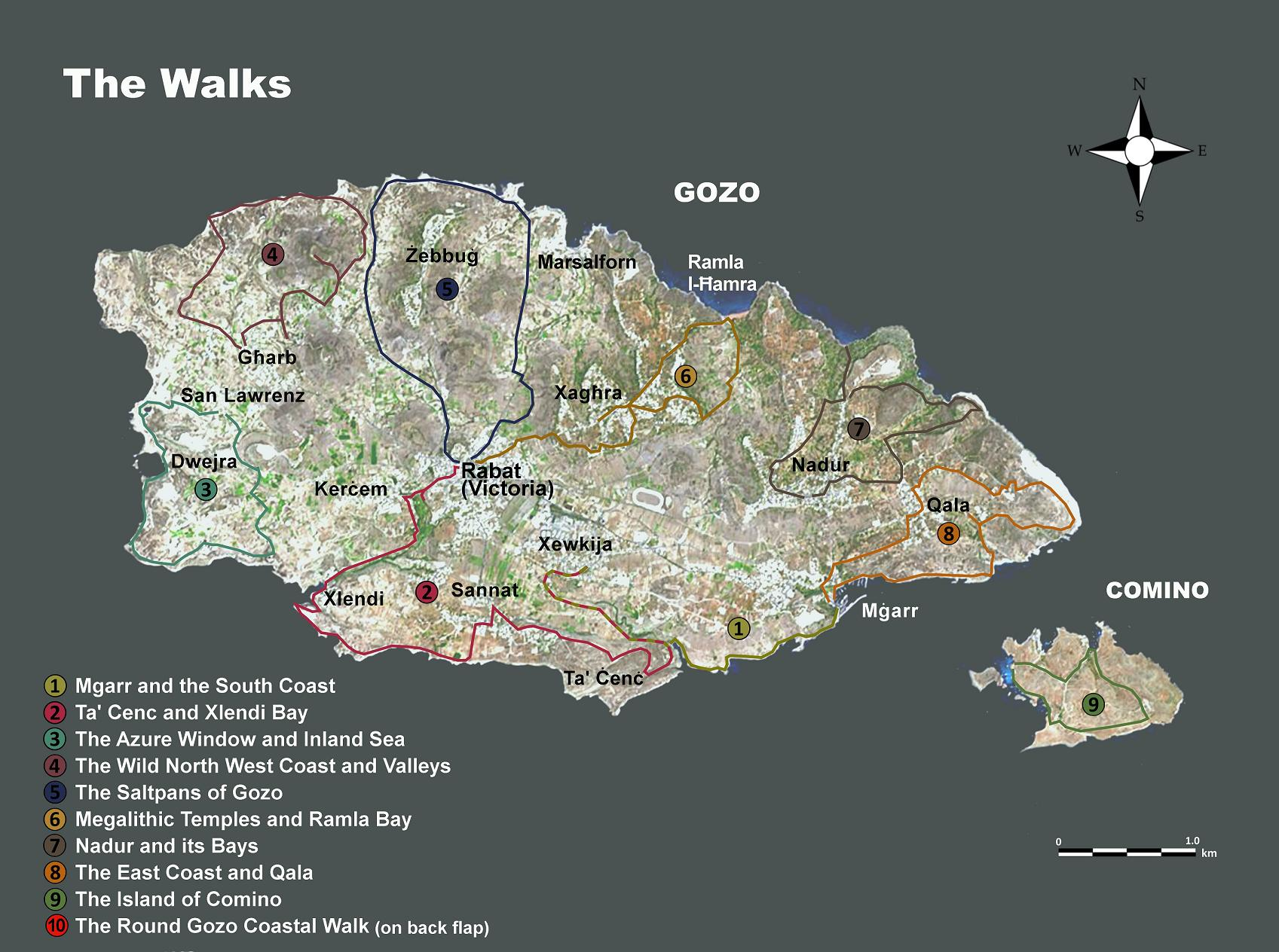 Books  Walks   Maps   Walking in Malta and Gozo Gozo     10 Great Walks    click for map