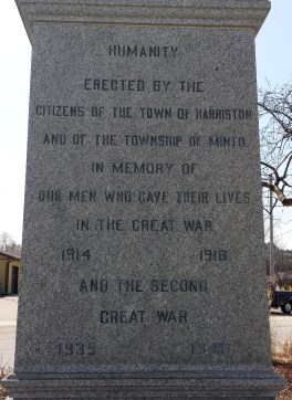 Memorial to Town of Harriston and Minto Township