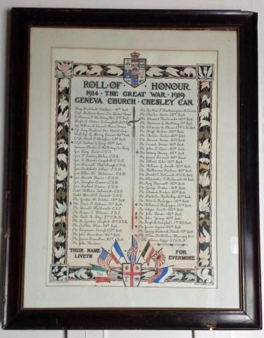 Geneva Church Roll of Honour, 1914-1919