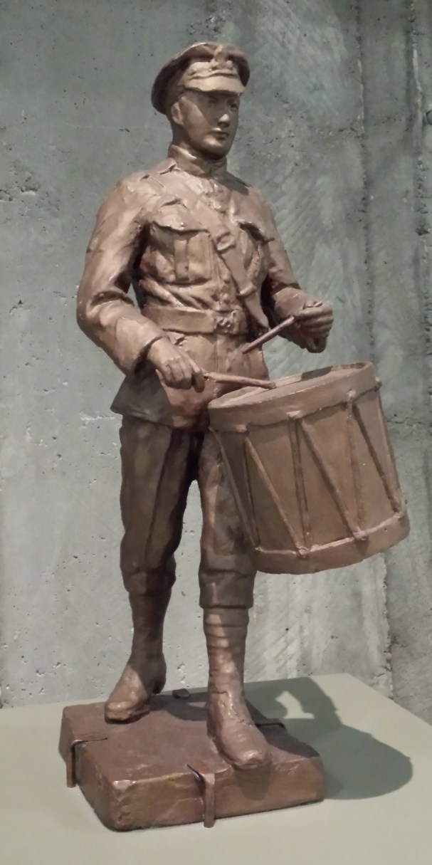 Drummer Boy: plaster sculpture painted to look like bronze