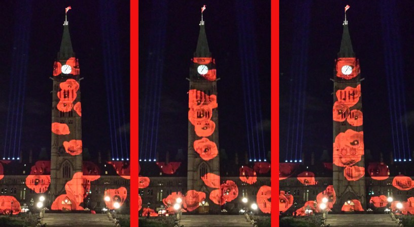 Virtual poppy drop on Peace Tower - 117,000 in all - every evening until 11 Nov 2016