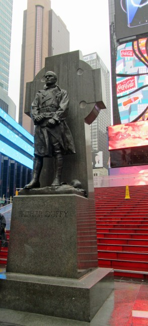 Soldier-priest Father Duffy watches over Times Square, New York