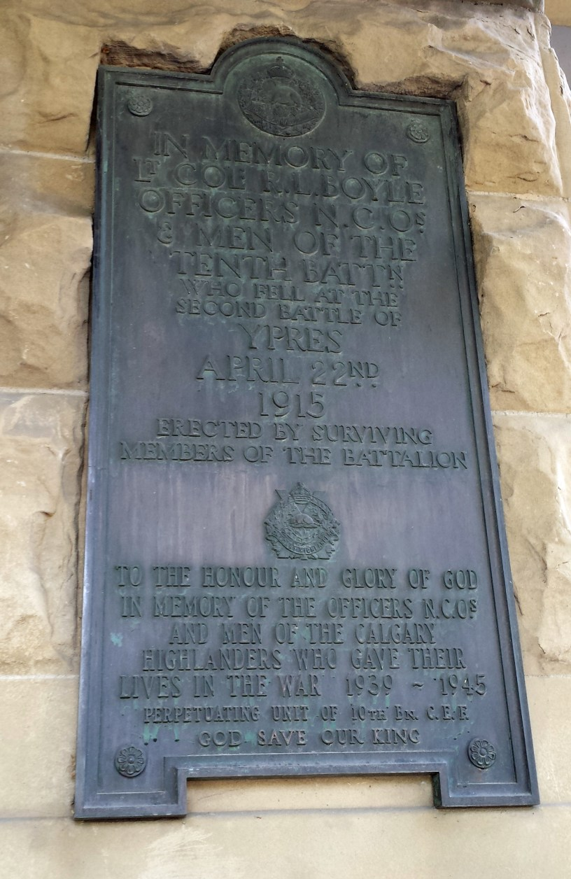 10th Battalion plaque on Old City Hall, Calgary