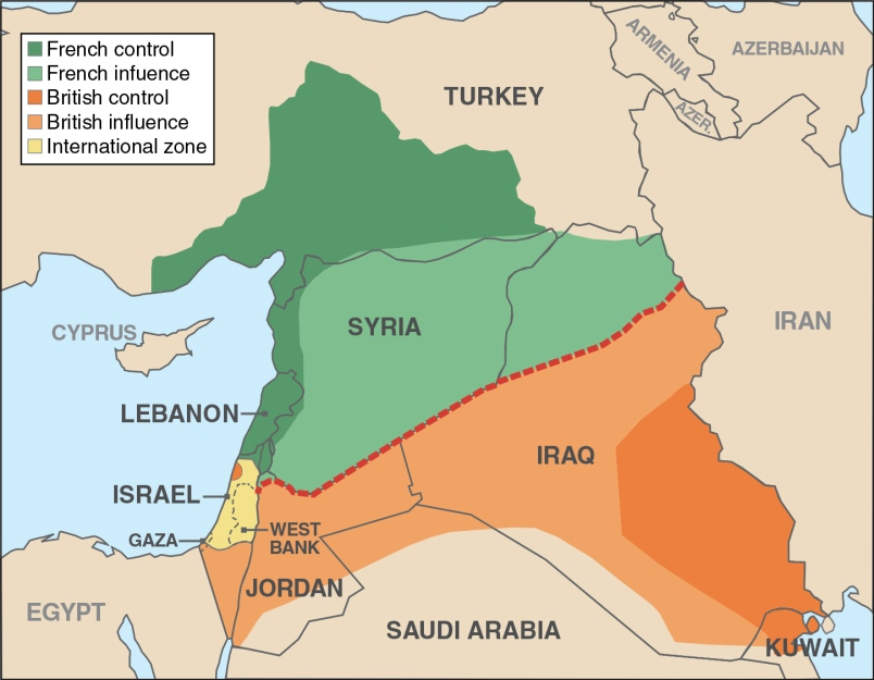 The Middle East as seen through the Sykes-Picot agreement.