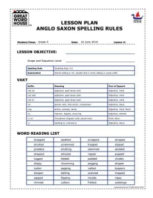 Spelling Rule Elements Teacher's Copy