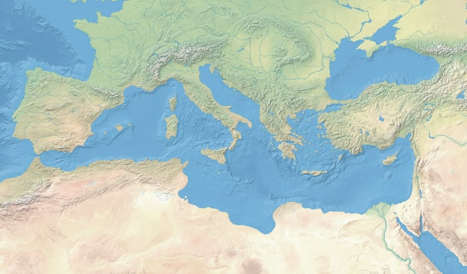 Mapa físico da Grécia