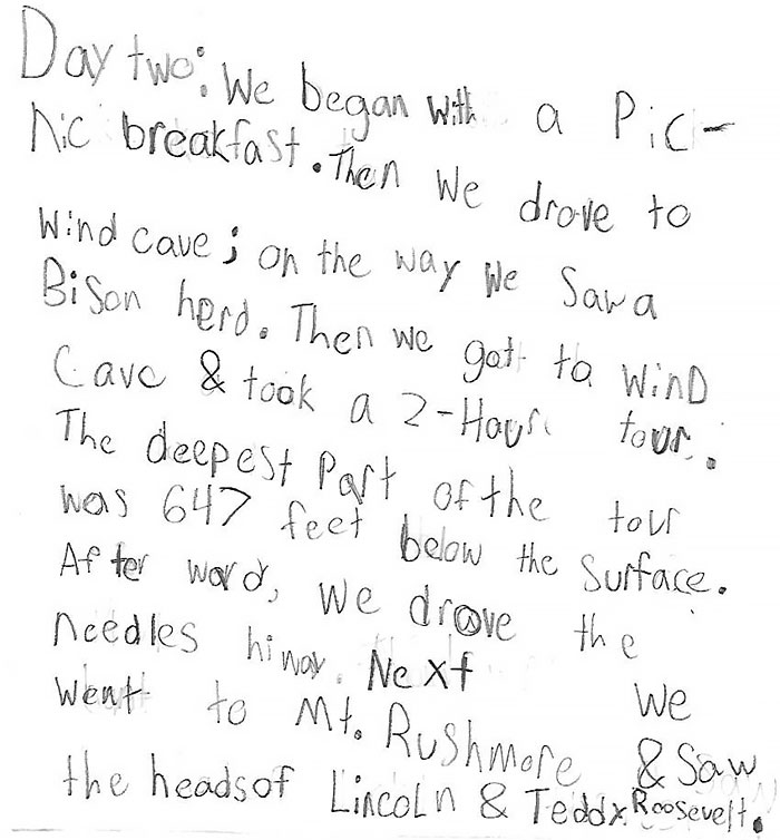 Day 2 - Mount Rushmore, Diary of a 9 Year Old