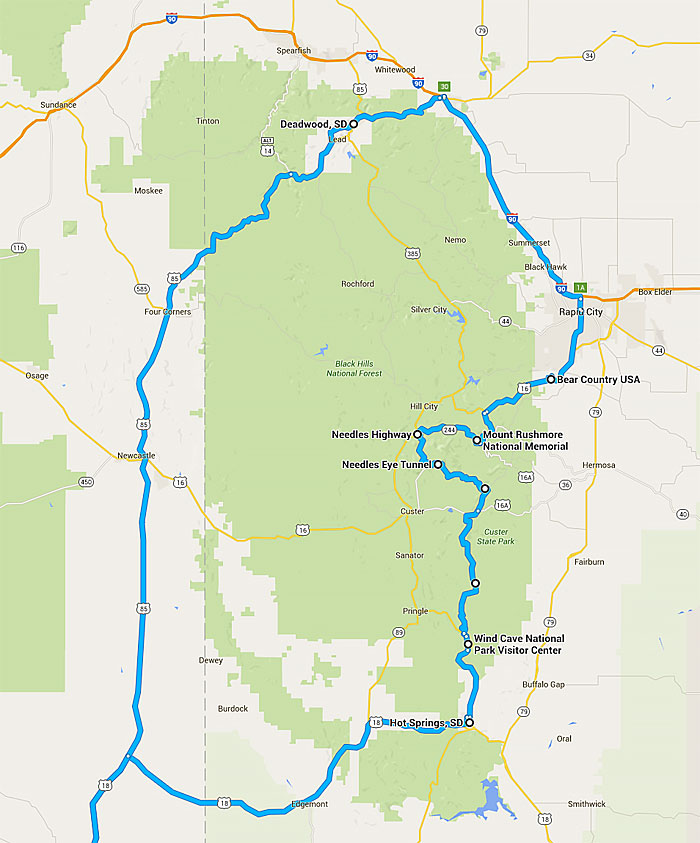Three Day Route For Mount Rushmore Driving Loop