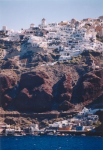 Oia from the boat to Santorini