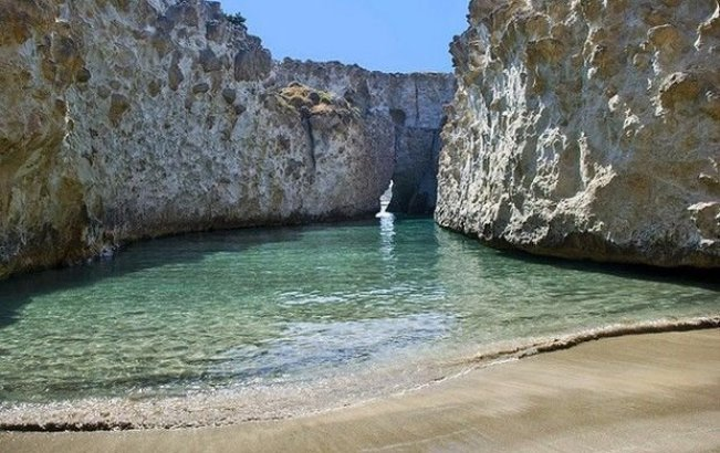 The beach as seen inside of Papafragkas cave