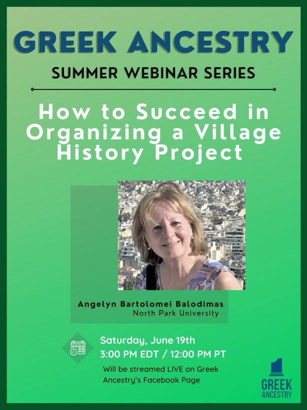 Greek Ancestry Summer Webinar #3: Prof Angelyn Bartolomei-Balodimas